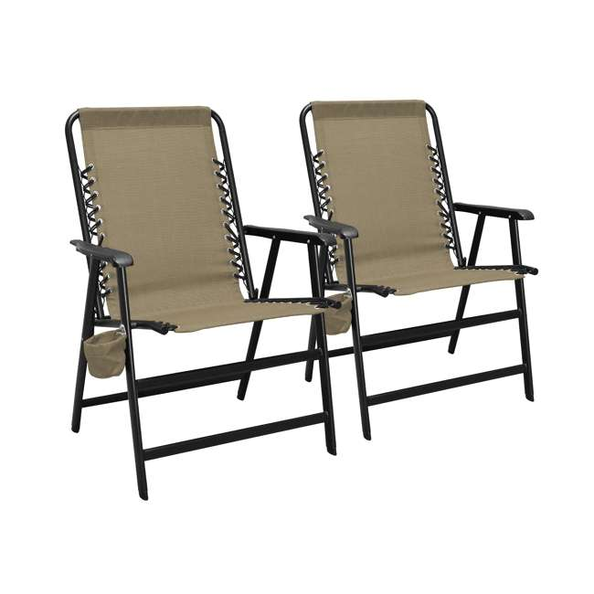 CVANXFC01152-2PK-U-B Caravan Canopy Infinity Suspension Folding Chair with Cupholder (2 Pack) (Used)
