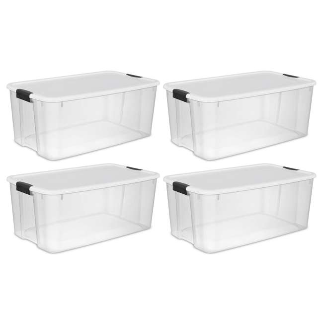 4 X 19909804-U-A Sterilite 116 Quart Latching Storage Tote Box Containers Clear (Open Box)(4Pack) 1