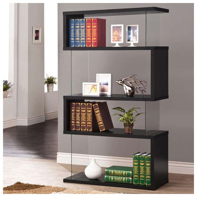 CH-800340-U-B Coaster Home Furniture Asymmetrical Snaking Living Room Bookshelf, Black (Used) 1