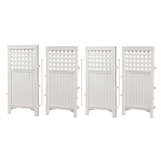 3 x FS4423D-U-B Suncast Garden Yard 4 Panel Screen Enclosure Gated Fence, White (Used) (3 Pack) 4