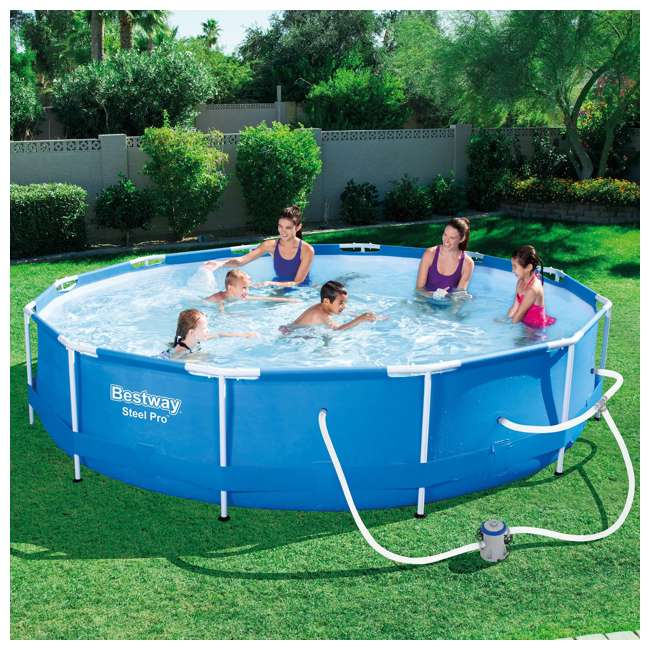 56417E-BW + QLC-42001 Bestway 12' x 12' Above Ground Pool w/ Pump + Qualco Pool Chemical Cleaning Kit 2