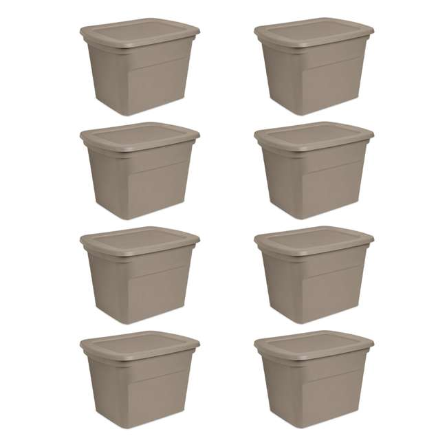 8 x 17316508 Sterilite 18 Gallon Heavy Duty Storage Tote, Taupe (8 Pack)