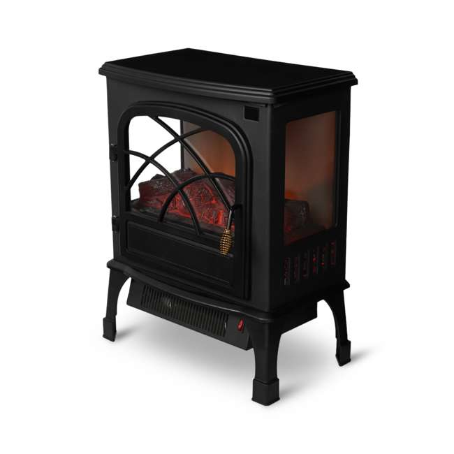 LIM-19-100005 Limina Indoor Electric 1500W Stove Fireplace Infrared Quartz Space Heater, Black