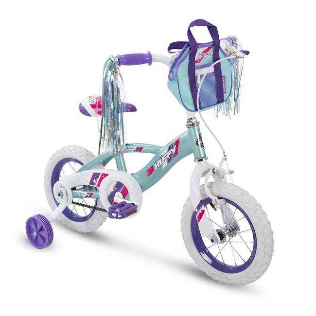"""72058 Huffy Glimmer 12"""" Age 3-5 Kids Bike Bicycle with Training Wheels, Sea Crystal"""