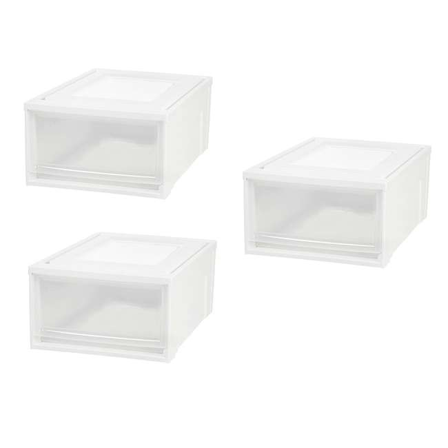 591073-3PK IRIS Medium 31 Qt Stackable Pull Out Clear Front Plastic Drawer, White (3 Pack)