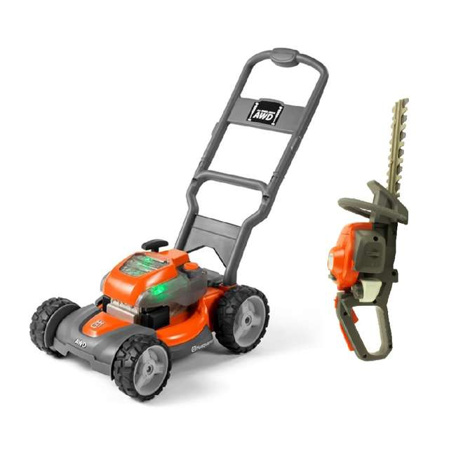 HV-TOY-589289601 + HV-TOY-585729103 Husqvarna Battery-Powered Toy Lawn Mower and Battery Operated Toy Hedge Trimmer