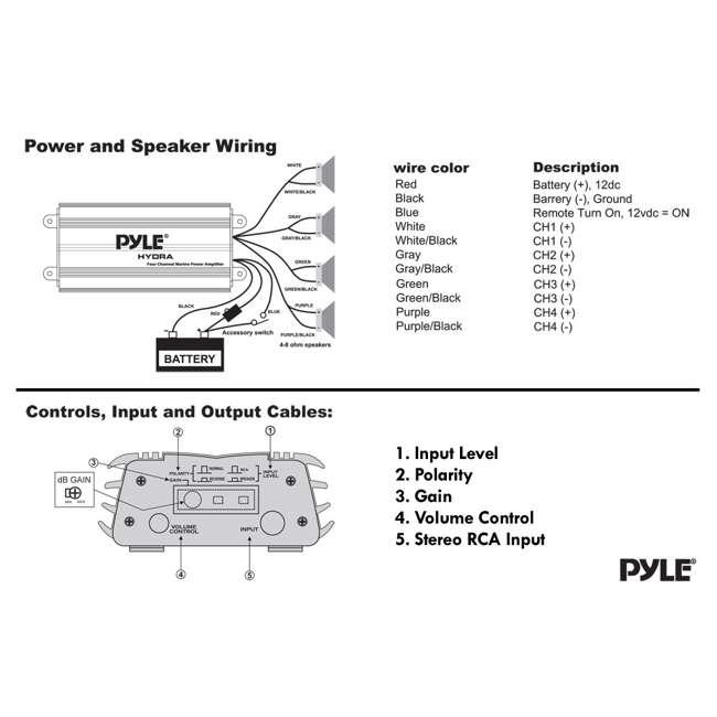 PLMRMP3B Pyle PLMRMP3B 800W 4-Channel Micro Marine Amplifier 10