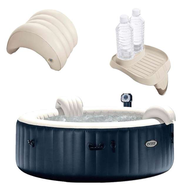 28409E + 28500E + 28501E Intex PureSpa 6 Person Outdoor Hot Tub with Headrest, Cup Holder and Drink Tray