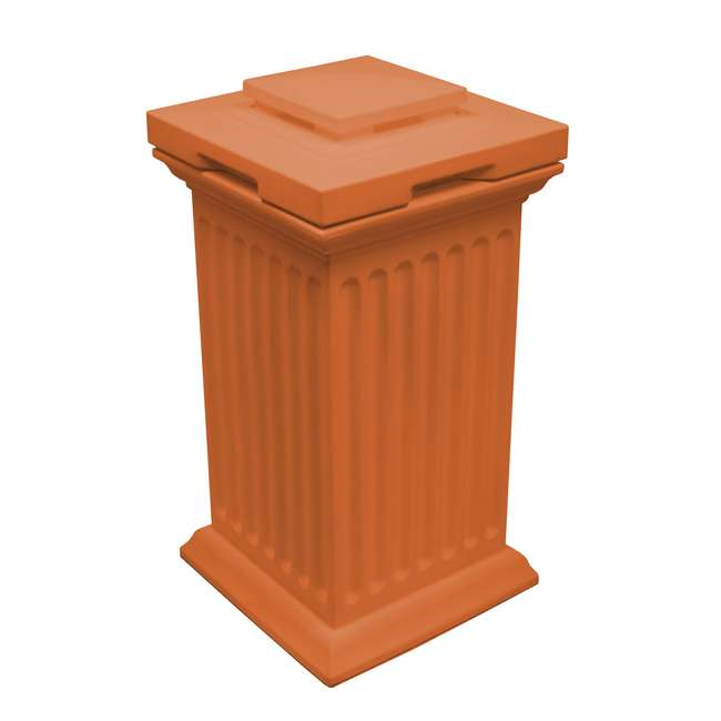 SV-COL-TC Good Ideas Savannah Outdoor Column 30 Gallon Storage and Waste Bin, Terra Cotta