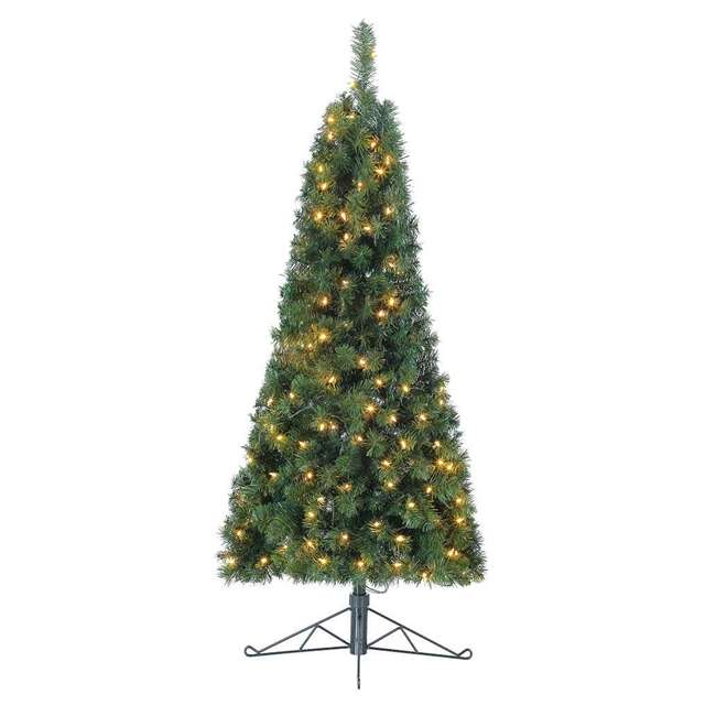 TG5000GHDL00-U-B Home Heritage 5' Flat Half Christmas Tree for Wall w/ White LED Lights (Used) 1