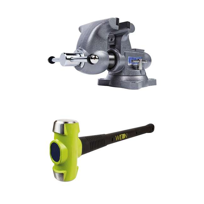 JPW-28807 + WIL-20412 Wilton Swivel Base Bench Vise w/ 4 Pound Sledge Hammer