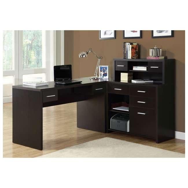 I 7018 Monarch Specialties Left or Right Facing Corner Computer Desk Hutch, Cappuccino 1