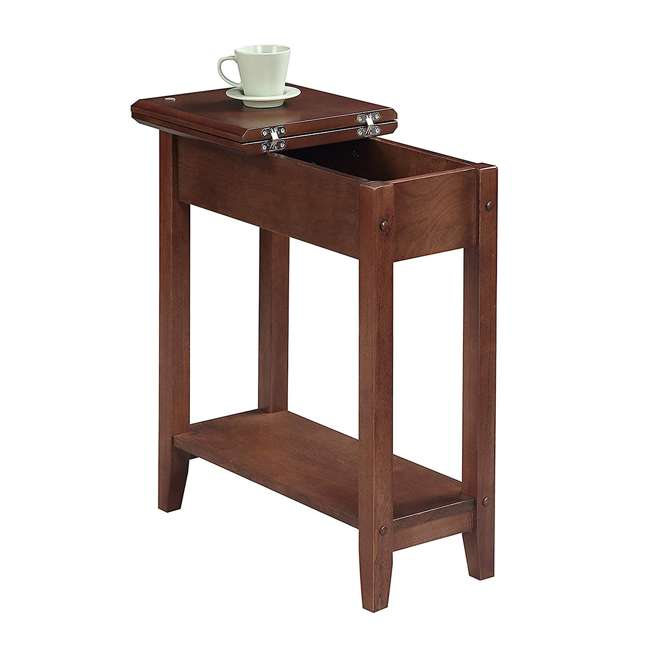 R6-261 Convenience Concepts American Heritage Flip Top Wooden Side End Table, Walnut 1