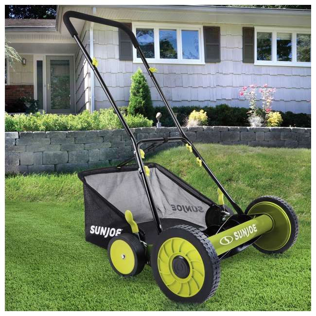 "SUJ-MJ501M-U-B Sun Joe Manual Reel 18"" Push Behind Lawn Mower w/ Grass Catcher, Green (Used) 3"