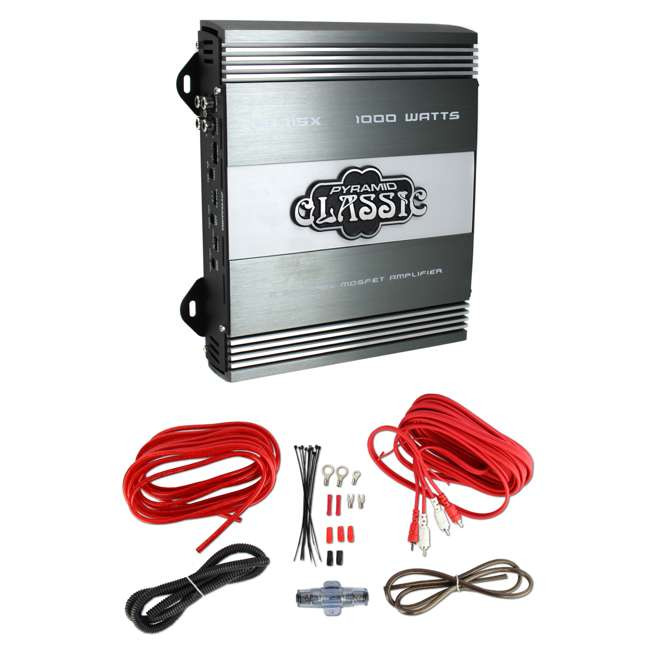 Pyramid PB715X 1000W 2 Channel Amplifier with 8Ga Amp Kit