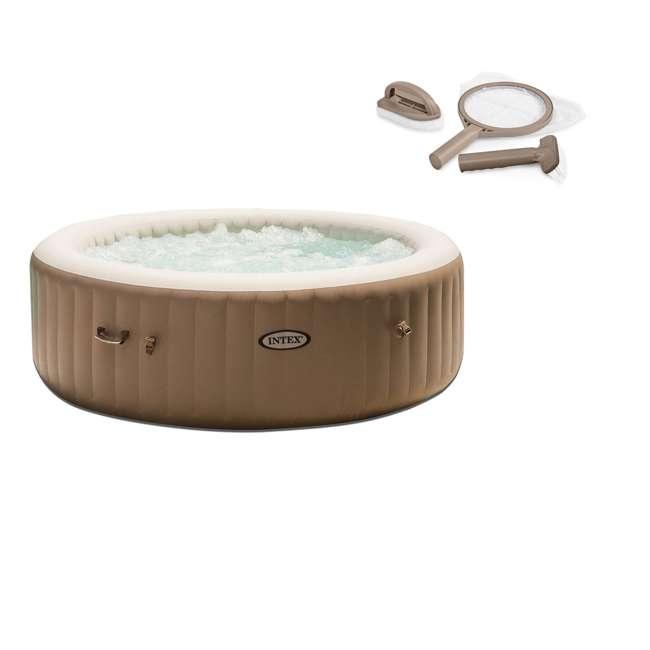 28004E + 28407E Intex Inflatable Pure Spa 6-Person Portable Heated Jet Hot Tub & Maintenance Kit