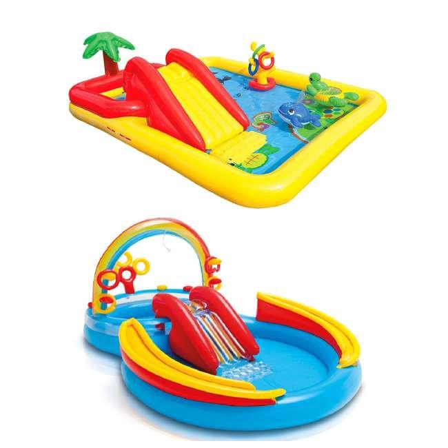 57454EP + 57453EP Intex Inflatable Ocean Kiddie Pool (2 Pack) & Intex Rainbow Ring Pool (2 Pack)