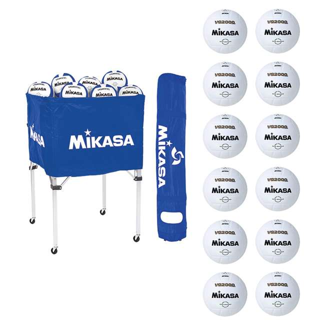 BCSPSH-ROY + 12 x VQ2000 Mikasa Volleyball Cart, Blue w/ Size 5 Volleyball (12 Pack)