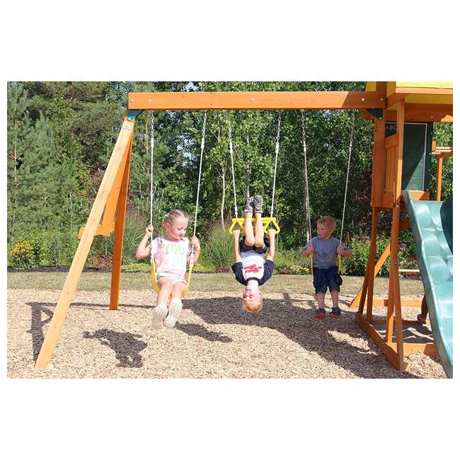 KDK-F23210C Kidkraft Brightside Wooden Cedar Discovery Swing Set/ Playset with Climbing Wall 4