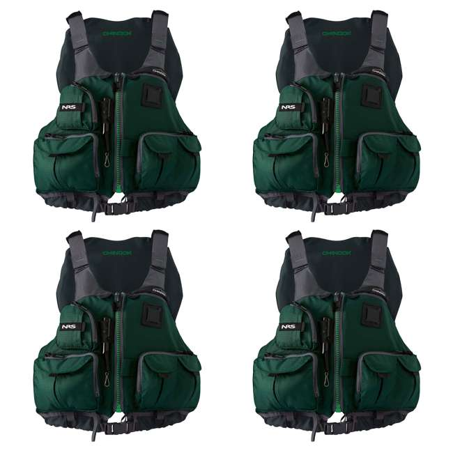 4 x NRS_40009_03_103 NRS Chinook Fishing PFD Large/ X-Large Safety Life Jacket, Green (4 Pack)