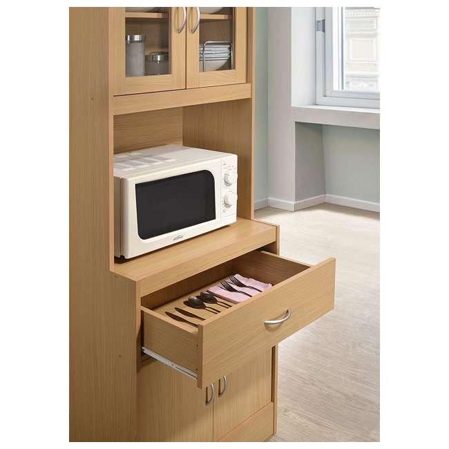 HIK96 BEECH Hodedah Freestanding Kitchen Storage Cabinet w/ Open Space for Microwave, Beech 4