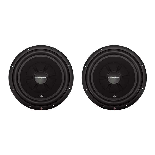 R2SD4-12 + QDODGE124DOOR + R1100M + BGE4RB Rockford R2SD4-12 12 Inch Subwoofers with Dodge Ram Quad Cab Box with Amp with Wiring (Pair) 1