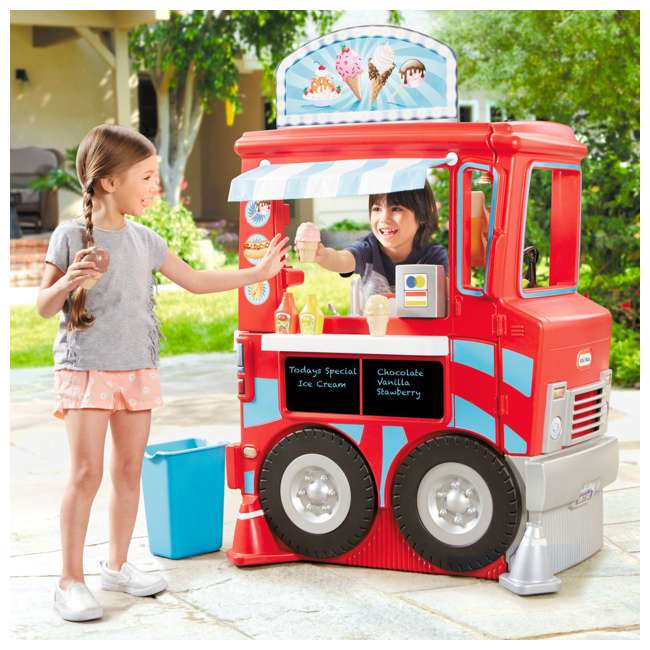 643644M Little Tikes 2-in-1 Kids Pretend Play Pop Up Ice Cream and Food Truck 1