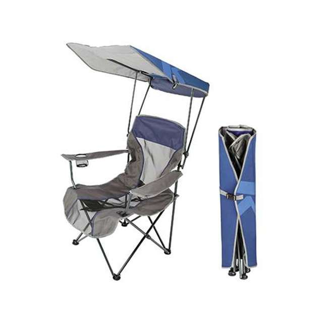 80188 Kelsyus Premium Portable Camping Folding Lawn Chair w/ Canopy, Navy | Open Box 3