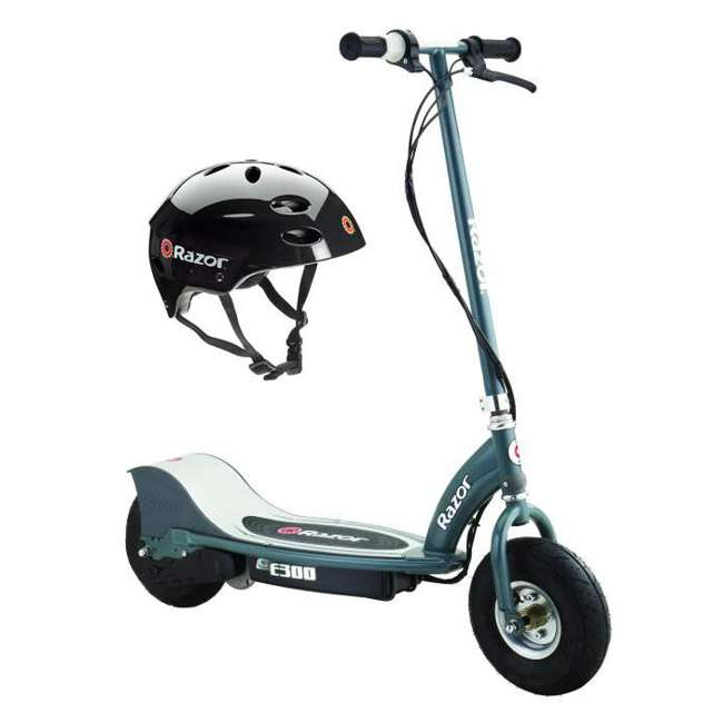 13113614 + 97778 Razor E300 Electric Scooter (Grey) & Youth Sport Helmet (Black)