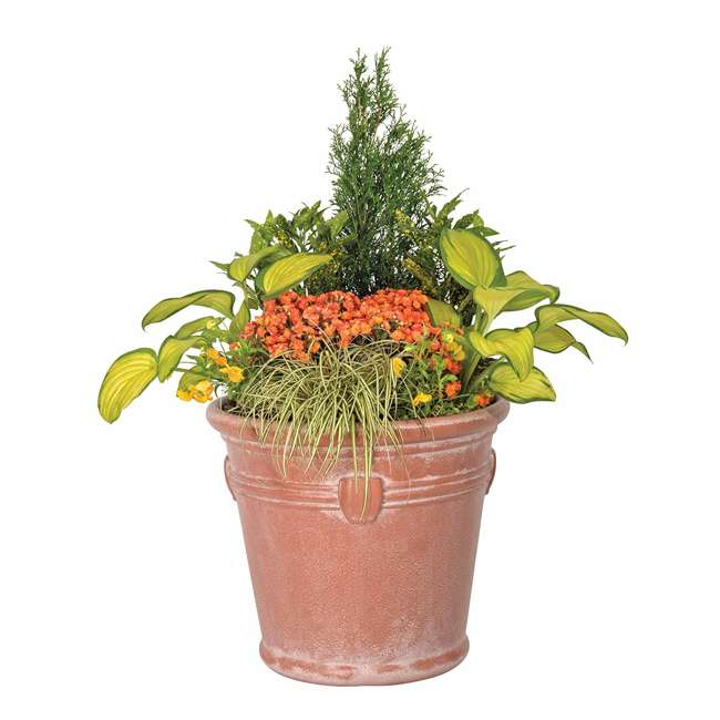 1820TCP4 Suncast Waterton 18 Inch Resin Round Decorative Flower Pot Planter (2 Pack) 2