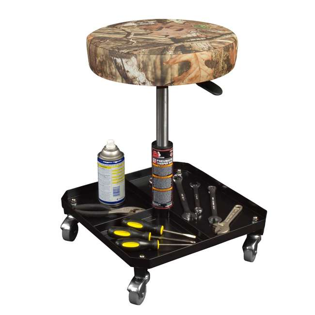 Torin Big Red Rolling Pneumatic Creeper Padded Stool Camo