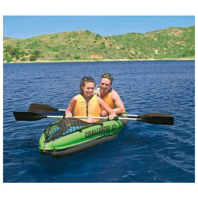 68306EP-U-B Intex Challenger K2 Two Person Inflatable Kayak Kit w/ Oars Pump - (Used) 3