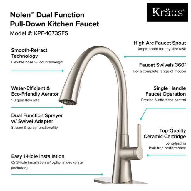 KPF-1673SFS-U-B Kraus Nolen Single Handle Pull Down Kitchen Sink Faucet Stainless Steel Finish (Used) 2