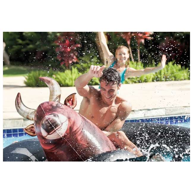 90705 + 56285EP Swimline Inflatable Peacock & Giant Inflatabull Swimming Pool Float Ride On 8