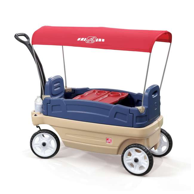 837200-U-A Step2 Whisper Ride Touring Wagon II 3-in-1 Toddler Outdoor Canopy Pull Wagon (Open Box)