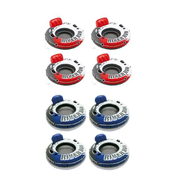 "4 x 56825EP + 4 x 58825EP Intex River Run 53"" Red Inflatable Tube (4 Pack) & Blue Inflatable Tube (4 Pack)"