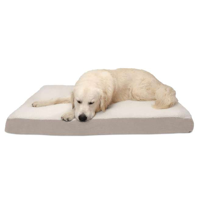 32503083 Furhaven 32503083 Jumbo Faux Sheepskin and Suede Orthopedic Puppy Dog Bed, Clay 1