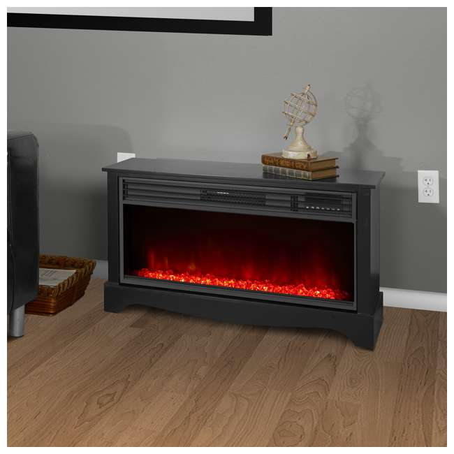 LS-ZCFP1034US-BLACK LifeSmart LifeZone Electric Infrared Quartz Fireplace Heater (2 Pack) 2