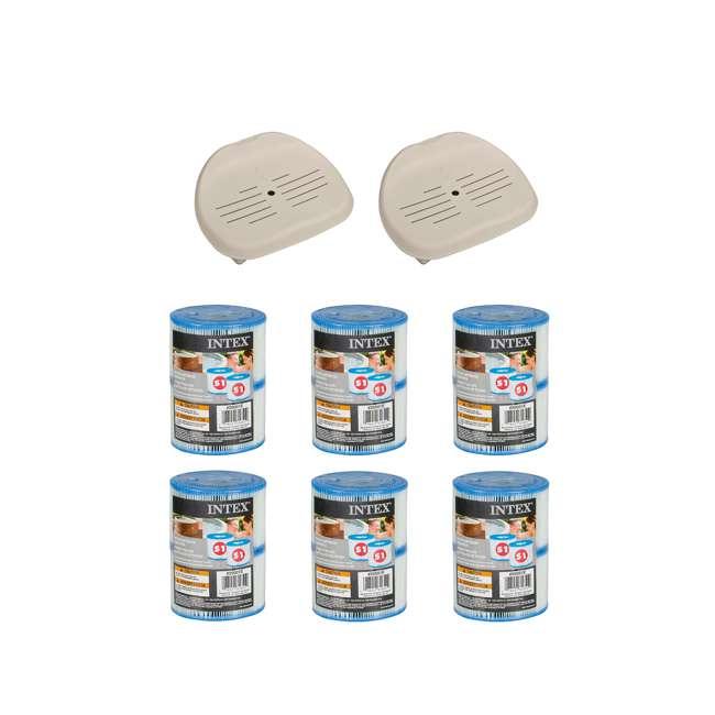 28502E + 6 x 29001E Intex Hot Tub Seat (2 Pack) & Filter Cartridges (6 Pack)