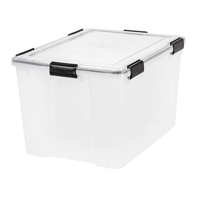 585855-4PK IRIS USA Weathertight 74 Quart Buckle Down Storage Box Container, Clear (4 Pack) 1