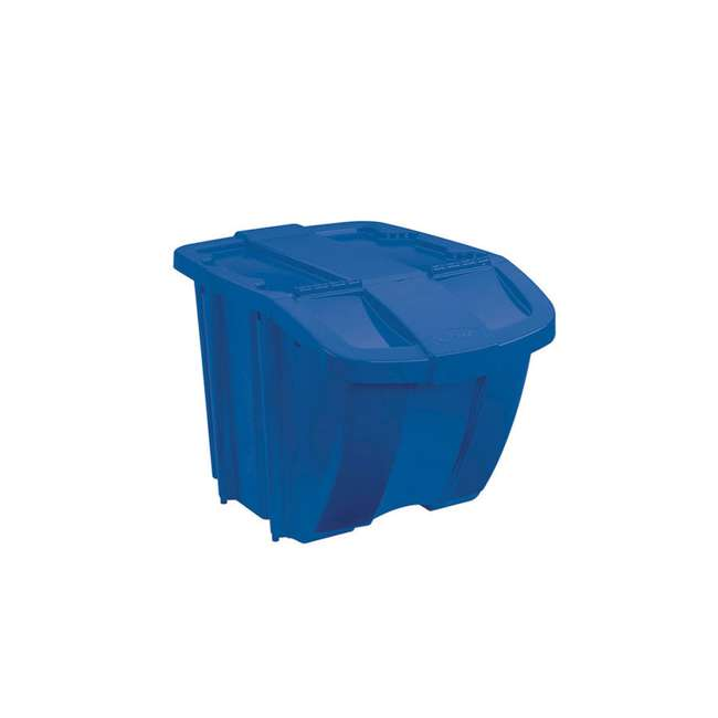 BH181212 Suncast 18 Gallon Stackable Resin Home Recycle Storage Bin w/ Lid, Blue (2 Pack) 1