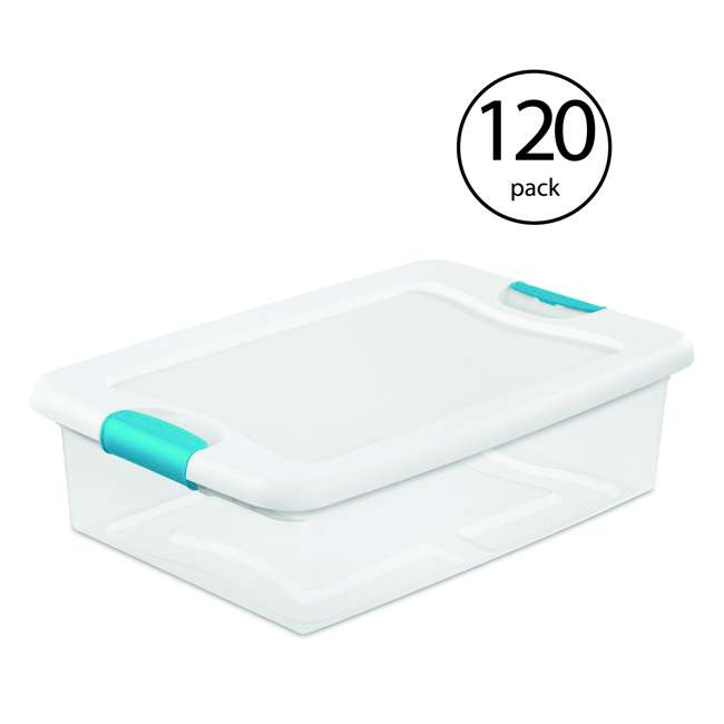 120 x 14968006 Sterilite 32-Quart Clear & Blue Stackable Latching Storage Box Container (120 Pack)