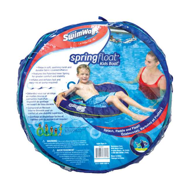 13221-SW Swimways Fabric Covered Spring Float Kid's Boat, Blue 1