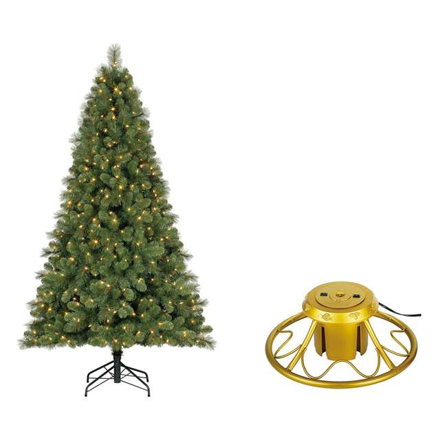 TG70M3W92D00 + GX1623U22F23 Home Heritage 7 Foot Artificial Cascade Pine Christmas Tree with Rotating Stand