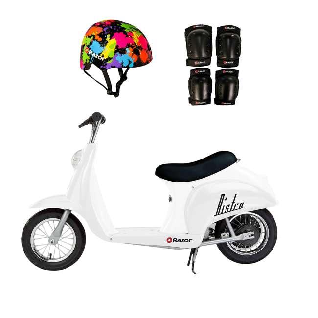 15130608 + 97913 + 96785 Razor Pocket Mod 24V Electric Retro Scooter, Kids Helmet, & Elbow & Knee Pads