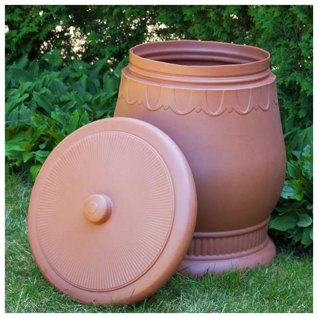 SV-URN-TC Good Ideas Savannah Decorative 30 Gallon Storage & Waste Basket Urn, Terra Cotta 2