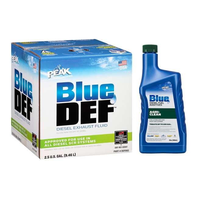 DEF002 + BDAGR32 BlueDEF Diesel Urea & Deionized Water 2.5 Gal JugPEAK Agri-Clean Fuel Additive