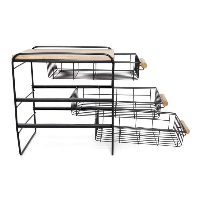 RA3TS-WB-BL Origami Kitchen Countertop 3-Drawer Wood Top Organizer, Black 4