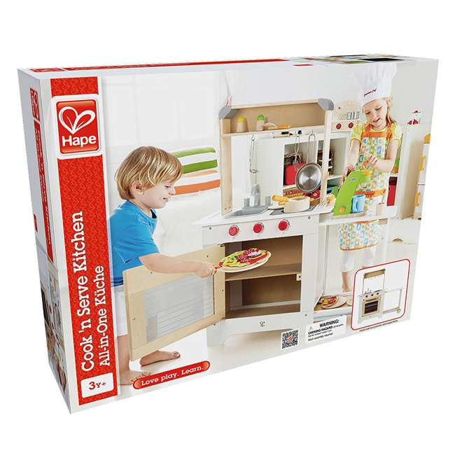 HAP-E3126 Hape Cook 'N Serve Kids Contemporary Pretend Play Wooden Kitchen 6