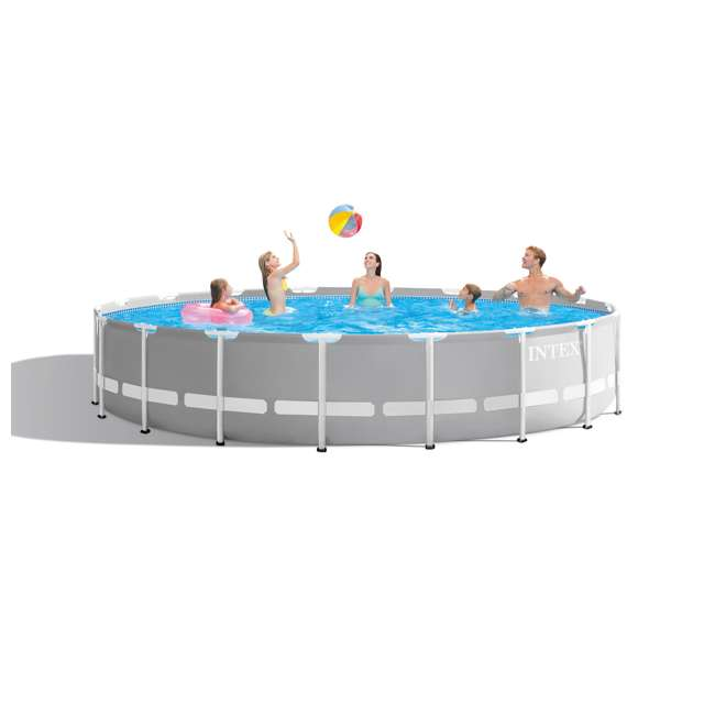 26731EH + 2 x 58868EP + 58821EP Intex Prism Pool w/ Inflatable Loungers and Cooler 5